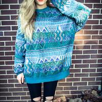 Customizable Blue Purple Green Geometric Triangle Print Studded Oversized Sweater