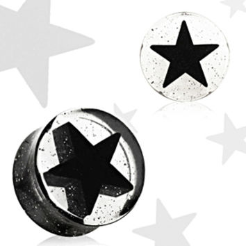 Black UV Acrylic 3D Star Double Flare Glitter Plug