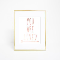 Rose Gold You Are Loved Wall Art Print