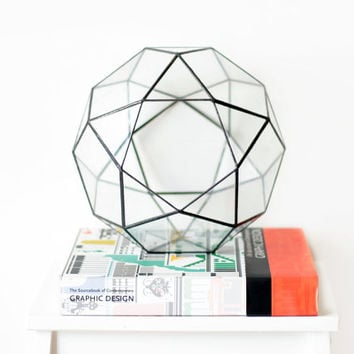 Large Geometric Terrarium / Icosidodecahedron / Handmade Glass Terrarium / Modern Planter for Indoor Gardening / Stained Glass Terrarium