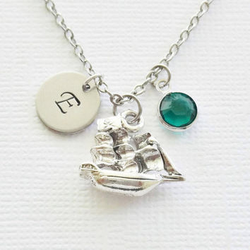 Pirate Ship Pewter Necklace Vessel Pirates Caribbean Treasure Jewelry Swarovski Birthstone Silver Initial Personalized Monogram Hand Stamped