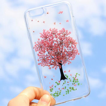 Floral Tree Case 100% Handmade Dried Flowers Cover for iPhone 7 7Plus & iPhone X 8 6s Plus + Gift Box B61