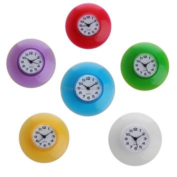 Silicone Bathroom Suction Wall Clock. Water-Resistant Timer.