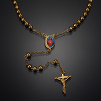 Personality Rosary Necklace  New Classic Metal Necklaces Virgin Mary and Jesus Cross Pendants Necklace Unisex Hiphop Jewelry