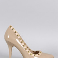 Women's Wild Diva Lounge Patent Pyramid Studded Pointy Toe Pump
