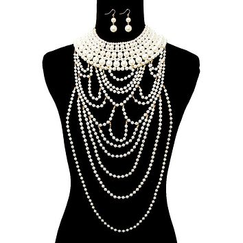 Cream Pearl Collar Necklace Set Featuring Long Draping