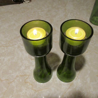 Upcycled mini champagne bottle Candle holder, Table decor, Patio Decor, Green Tea Light holder