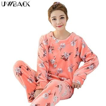 Uwback 2017 Winter Brand Pajamas Sets For Women Floral Plush Flannel Sleepwear Femme Animal Coral Fleece Kigurumi Mujer  OB240