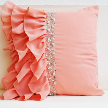 Peach ruffled throw pillows - Ruffle pillow - 16X16  - Decorative Pillow - Peach cushion cover - Gift Pillow - Sequin pillow -Ruffle cushion