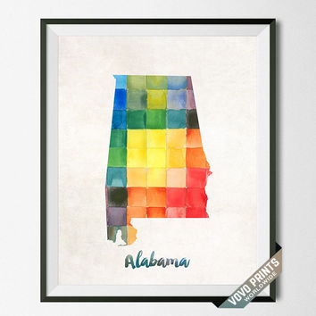 Alabama Map, Print, USA, Watercolor, Montgomery, Southeastern, Decor, Giclee, United States, Watercolour, Urban, Dorm, Home, Wall [NO 2]