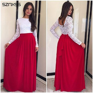 SZMXSS New Spring 2016 Lace Patchwork O-neck Long Sleeve Party Women Dresses Floor Length Big Swing Casual Maxi Dress