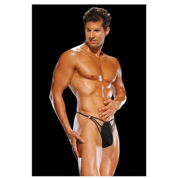 Male Power G-string w/Straps & Rings Black L/XL