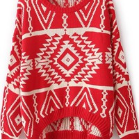 Sheinside Red Long Sleeve Geometric Pullovers Sweater