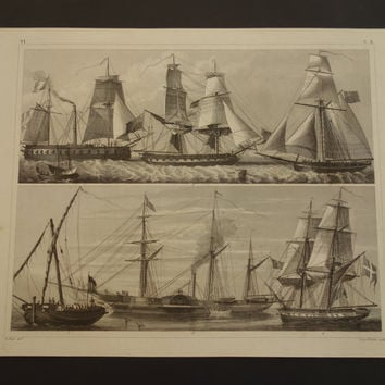 1849 SHIPS old print of ship design - antique poster pictures French steam-propelled warship English cutter nautical brig war frigate