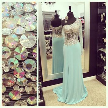 Real Sample Sheer Single Long Sleeve Prom Dresses 2017 See Through Chiffon Sequin Top A Line Light Blue Prom Dress With Slit