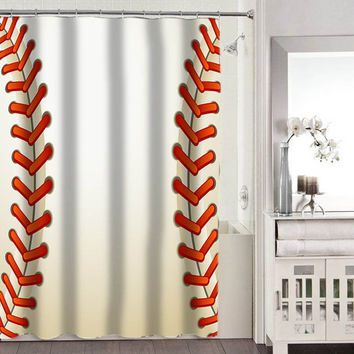 Baseball Texture Ball shower curtains adorabel bathroom heppy shower curtains.