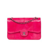 Jumbo Pink Fuchsia Python Leather