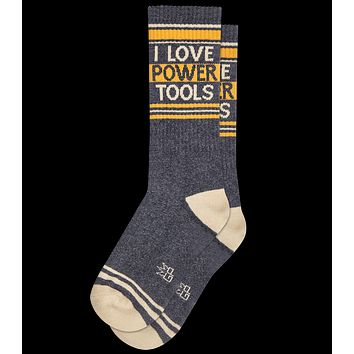 I Love Power Tools Ribbed Gym Socks in Yellow and Grey