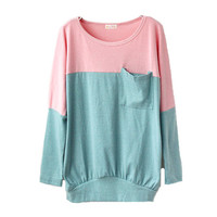 Pink Green Long-sleeved T-shirt with Front Pocket