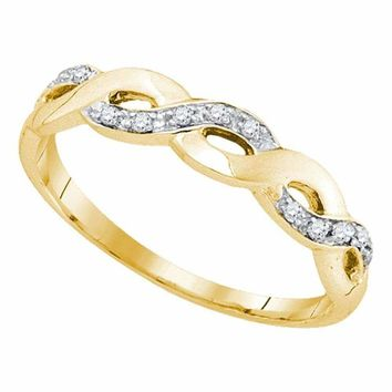 10kt Yellow Gold Women's Round Diamond Woven Twist Band Ring 1/12 Cttw - FREE Shipping (US/CAN)