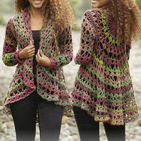 Women jacket CHOOSE YOUR COLOR multicoloured jacket fall crochet jacket hand knit gradient black rainbow jacket cardigan boho Drops Lilith