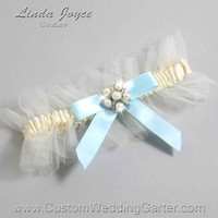 "Alice Blue and Ivory Tulle Pearl Bridal Garter ""Natalie 20"" Silver"