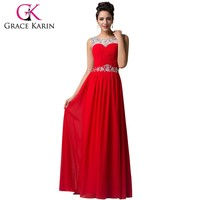 New Grace Karin Backless Beading Long Blue Yellow Red Evening Dresses Elegant Chiffon  Romantic Formal Dresses