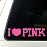 I Love Pink cute car decal sticker love