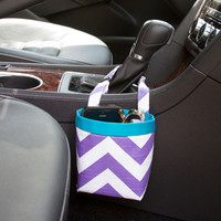 Car Cellphone Caddy ~ Purple Chevron ~ Turquoise Band ~ Center Console Handle