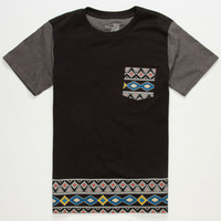 Blue Crown Sun Tribe Boys Pocket Tee Black  In Sizes