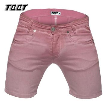 TQQT men's shorts casual denim shorts cargo short zipper fly bermuda male mens colourful short regular slim short jeans 5P0610