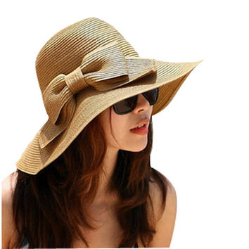 Bohemian Summer Sun Floppy Hat Straw Beach Wide Large Brim Cap Women Sunscreen Big hat With Bow Women Summer Hat #152 SM6