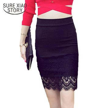 2017 S-5XL Plus Size Black Pencil Skirt Women Spring Summer Lace Patchwork Bodycon Skirts Lady Tight Sexy Skirt 135H 30