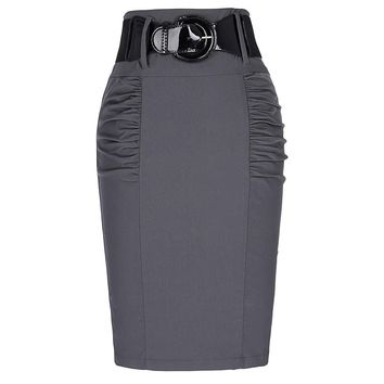 Women's Retro Grey Business Casual Pleated Pencil Skirt