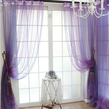 DCCKU7Q Super Deal  Green Tree Tulle Door Window Curtain Drape Panel Sheer Scarfs Valances XT