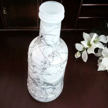 Hazel Atlas Milk Glass Bottle in Black Drizzle Pattern ~ Mid-Century Modern