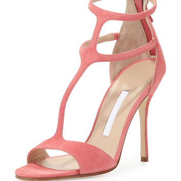 Cellin Suede T-Strap High-Heel Sandal, Pink
