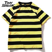 Yellow Black Red White Striped Cotton Vintage Hip Hop Tops Tee Men Women Striped T shirt Street wear