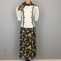 Jacket & Skirt Set 2 Piece Dress Scarf Floral Chiffon Daisy Print Short Sleeve Black White Yellow Leslie Fay Size 12 Large Womens Clothing