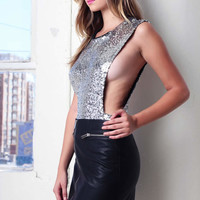 Sequin bodysuit - Silver @ LushFox.com :: Current Fashion Trends & Styles