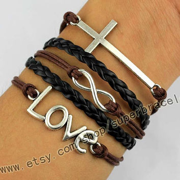 The cross and infinite LOVE, Bracelet, Antique Silver Bracelet, bangle jewelry, women cuff Bracelet, charm, the best gift