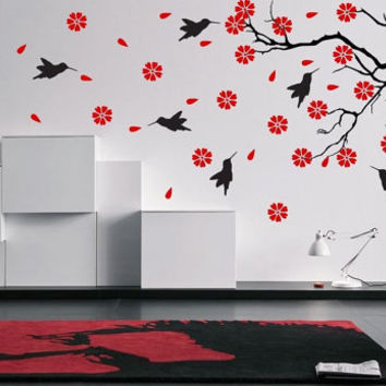 Tree with Birds and Flowers Vinyl Decal Wall Sticker Furniture Removable Art Decal Decor DIY! Free shipping! Give Your Bedroom Some Love !