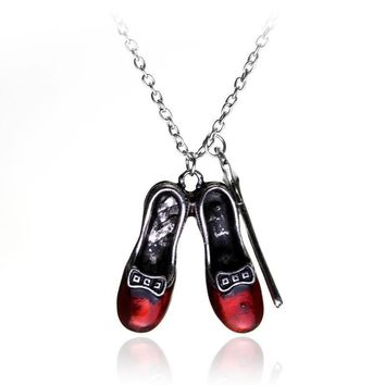 Wizard of Oz Alice in wonderland Sexy Red Shoes and Magic Wand Stars Charm necklace Gi