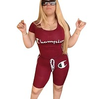 Champion Fashion New Summer Letter Print Sports Leisure Two Piece Suit Top And Shorts Burgundy