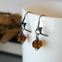 Amber Glass Earrings Gunmetal Earrings - Priced for Clearance