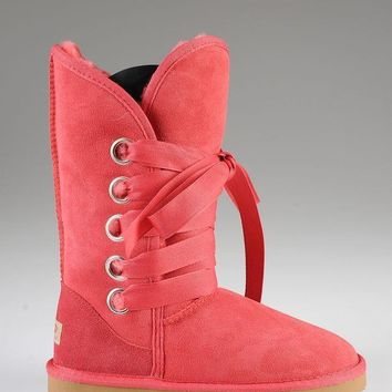 ESBON UGG 5818 Tall Lace-Up Women Fashion Casual Wool Winter Snow Boots Red
