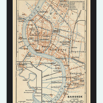 Old Map of Bangkok 1914 Thailand