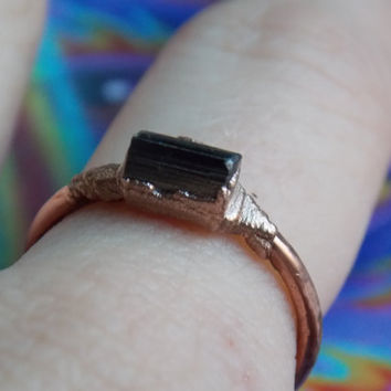Electroformed Copper Ring with Black Tourmaline size 6.5 // Gemstone Crystal Jewelry