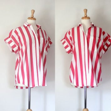 Vintage 50s 60s Style Shirt / Candy Stripe Rockabilly Blouse / Short Sleeve Button Down Shirt / Spring Summer Fashion