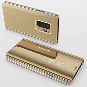 For Galaxy S9 Case,Electroplating Ultra-thin Translucent Mirror Clear Luxury Shockproof Protective Metal Aluminum Flip Stand Cover Case for Samsung Galaxy S9 Gold